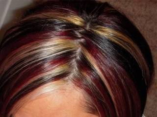 фото мелирования волос перьями