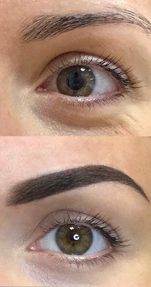 фото до и после пудрового напыления бровей
