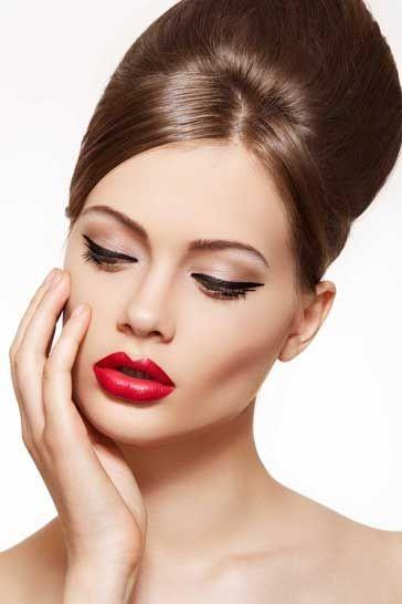 макияж для прически в ретро стиле