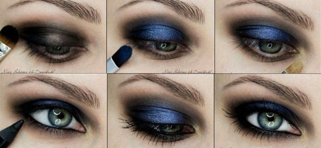 смоки макияж в синих тонах