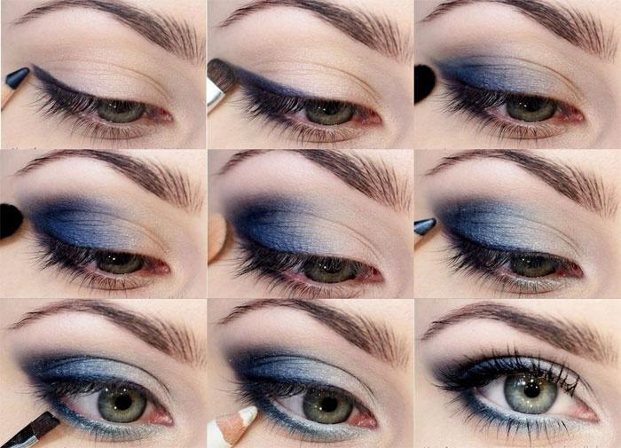 техника макияжа глаз в голубых тонах пошагово