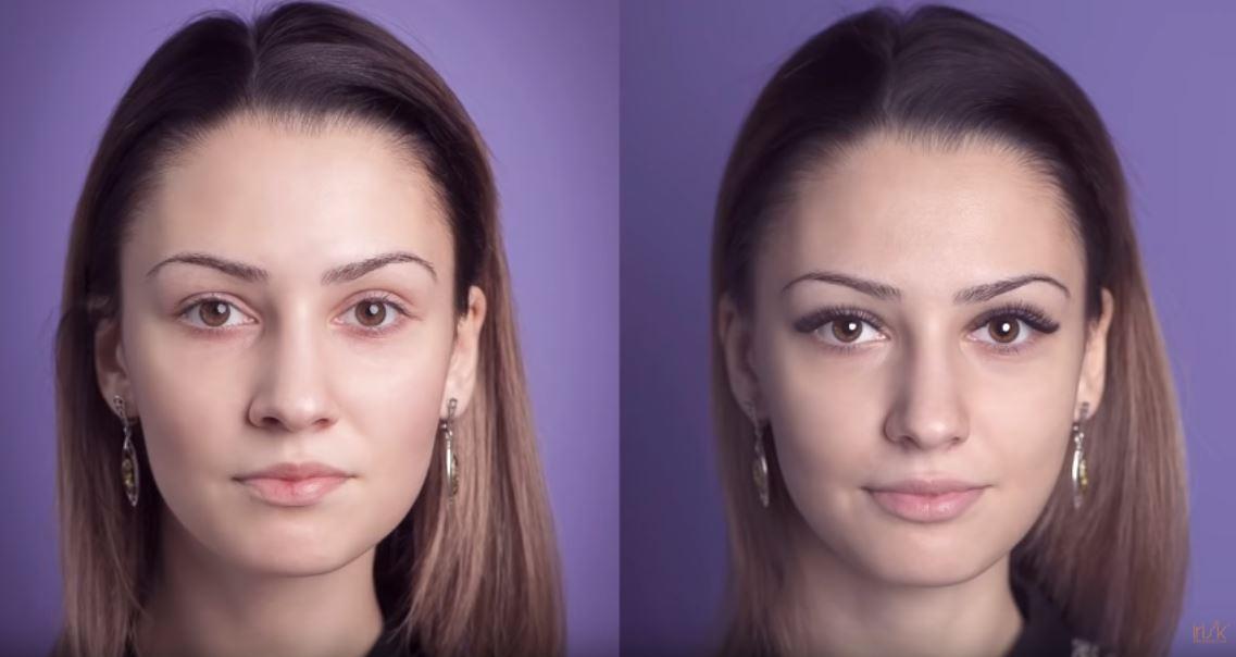 ресницы до и после
