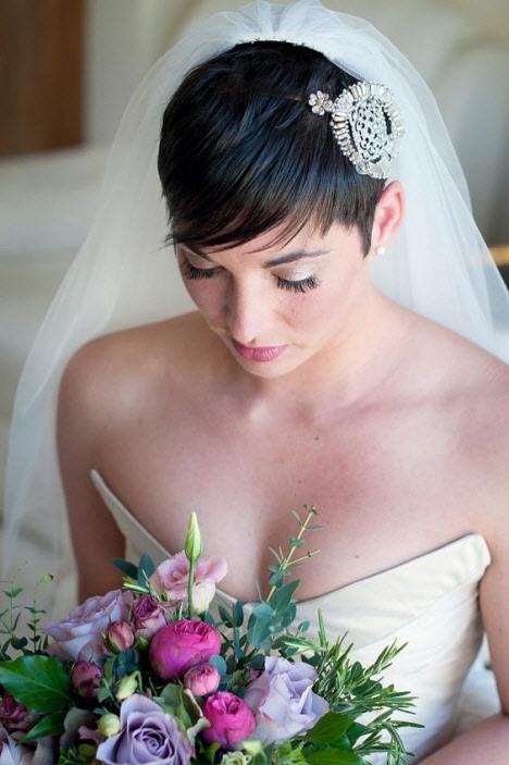 свадебная прическа короткие волосы